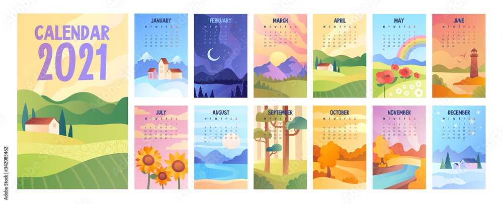 Fototapeta 2020 Calendar with bunch of minimalist style landscapes of four seasons. Set of vector illustrations