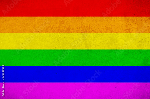 Fotografie, Obraz Rainbow flag grunge background, commonly known as the gay pride flag or LGBTQ pr