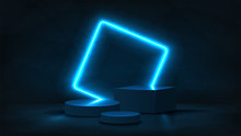 Abstract Neon Banner With Pedestal. 3d Podium With Blue Neon Square. Abstract Background For Promotion Goods. Vector Illustration With Blank Space. Minimal Concept Banner. Mockup Template.