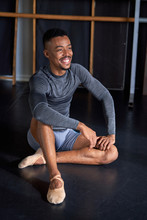 Photo Portrait Of A Black Boy With Sport Clothes And Slippers And Ballet In A Dance Academy