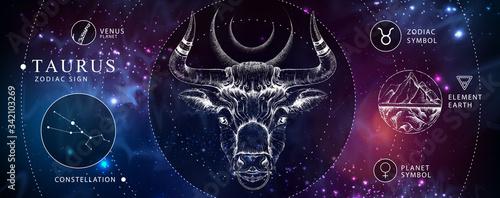 Fotografia Modern magic witchcraft card with astrology Taurus zodiac sign
