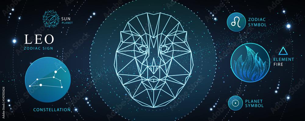 Fototapeta Modern magic witchcraft card with astrology Leo zodiac sign. Polygonal lion head. Zodiac characteristic