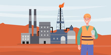 Power Industry Background With Oil Production Equipment Flat Vector Illustration.