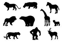Collection Of Zoo Animal Silho...