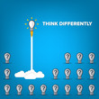 Think differently - Being different, taking risky, move for success in life -The graphic of light bulb also represents the concept of courage, enterprise, confidence, belief, fearless, daring. Vector