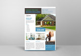 Real Estate Flyer Layout with Green and Blue Accents - 342128413
