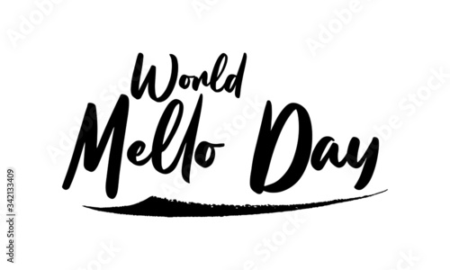 Photo World Mello Day Calligraphy Black Color Text On White Background