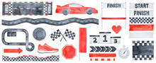 Big Racing Collection Of Various Speed Symbols, Motor Sport Signs, Flags, Arrows, Award Pedestal, Sneaker, Love Heart And Seamless Borders. Hand Drawn Watercolour Painting, Cutout Elements For Design.
