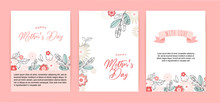 Mother's Day Greeting Card Set With Flowers Background. Happy Mother's Day. Can Be Use For Sale Advertisement, Backdrop. Vector Illustration