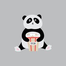 Panda With Popcorn Bag - Carto...