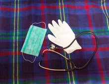 Gauze Bandage, Glove And Phonendoscope