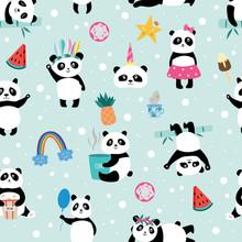 Seamless Panda Bear Pattern On...