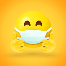 Emoji With Mouth Mask And Thum...