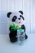 A Soft Panda Toy And A Glass J...