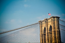 American Flag On Brooklyn Brid...