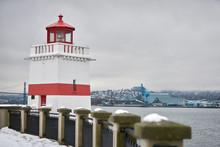 Brockton Point Lighthouse Winter Snow. Winter Snow On The Brockton Point Lighthouse. Stanley Park, Vancouver.