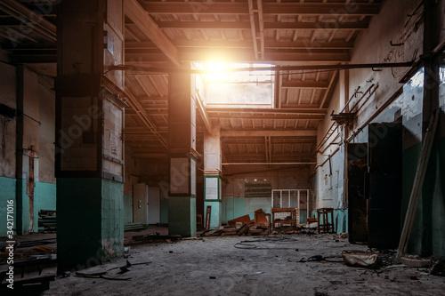 Fototapeta Old broken empty abandoned industrial building interior