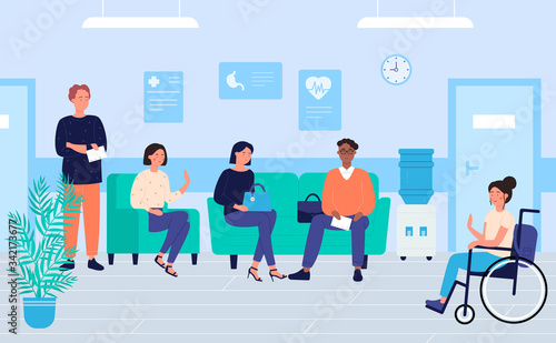 Patients in clinic waiting room character flat vector illustration, medicine and healthcare Wallpaper Mural