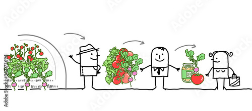 Photo Cartoon Characters - Vegetables Production Chain