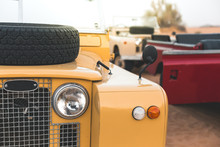 Close Up Of Old Land Rover In The Desert Of Dubai - UAE