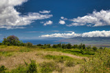 View of the west Maui mountains and ocean from Kula on Maui.