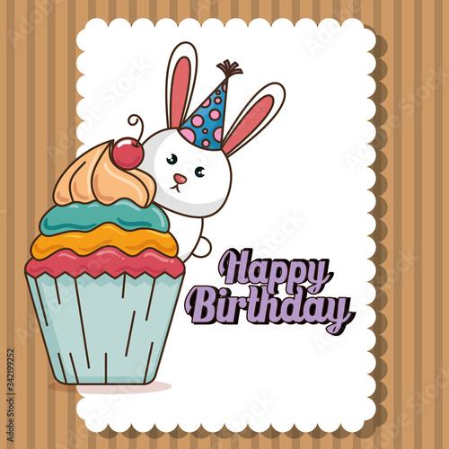 happy birthday card with cute bunny Canvas Print