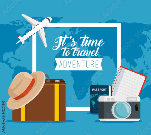 Photo travel passport with camera and baggage to vacation