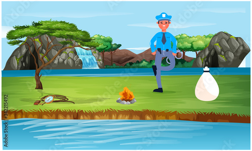 police men is in garden and found a bag Canvas Print