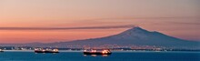 Barges On Water At Dusk