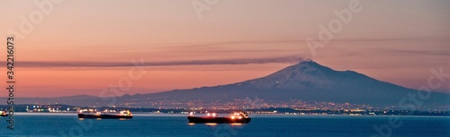 Photo Barges On Water At Dusk
