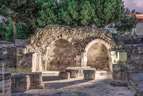 Ancient Roman ruins in the archaeological park of Paphos, Cyprus. Canvas Print