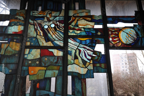 Broken stained glass window in cafe Pripyat Canvas Print