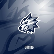 Wolf Mascot Logo Design With Modern Illustration Concept Style For Badge, Emblem And T Shirt Printing. Angry Wolf Illustration For Sport And E-sport Team.
