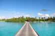 Tropical island beach with wooden bridge over clear blue water.