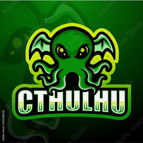 Green cthulhu mascot esport logo design Fototapet