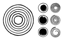 Collection Of Abstract Brushed Black Ink Circles, Dots And Spirals With Rough Edges And Grungy Texture