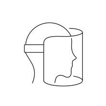 Face Shield Line Icon. Full Fa...