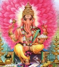 God Ganesha Hindu Elephant Flowers Holy Illustration