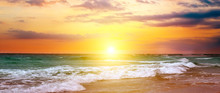 Colorful Ocean Beach Sunrise. ...