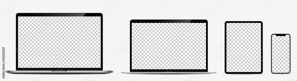 Fototapeta Device screen mockup. Laptop pro and thin, tablet and smartphone silver colors with blank screens for you design. Realistic vector illustration.