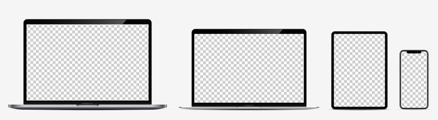Device screen mockup. Laptop pro and thin, tablet and smartphone silver colors with blank screens for you design. Realistic vector illustration.