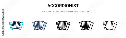 Fotografija Accordionist icon in filled, thin line, outline and stroke style