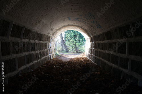 Tunnel with light at the end, there is hope at the end, stone wall tunnel Canvas Print