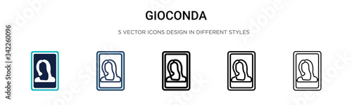 Fototapeta Gioconda icon in filled, thin line, outline and stroke style
