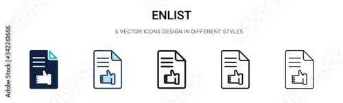 Enlist icon in filled, thin line, outline and stroke style фототапет