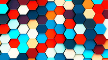 Illustration Of Abstract Colorful Hexagon Geometric Surface