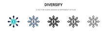 Diversify Icon In Filled, Thin Line, Outline And Stroke Style. Vector Illustration Of Two Colored And Black Diversify Vector Icons Designs Can Be Used For Mobile, Ui, Web