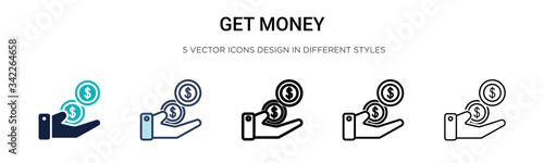 Get money icon in filled, thin line, outline and stroke style Wallpaper Mural