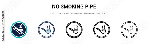No smoking pipe icon in filled, thin line, outline and stroke style Canvas Print
