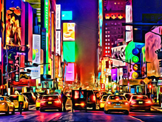 New York City USA artistic painting on canvas Yellow taxis and traffic at times square midtown at night